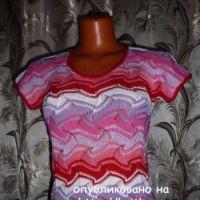 Разноцветная кофточка спицами – работа Марины