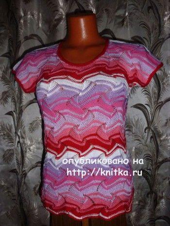 Разноцветная кофточка спицами - работа Марины