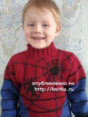 Для вязания свитера с пауком