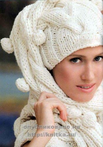 Шапка-шарф спицами. Вязание спицами.