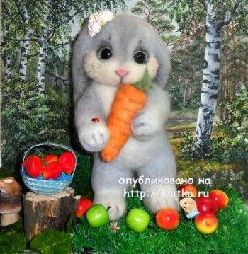Вязаная игрушка кролик – работа Ирины. Вязание спицами.