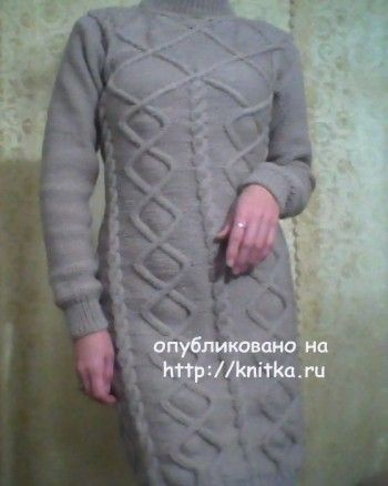 Платье Вальс Бостон – работа Ирины. Вязание спицами.