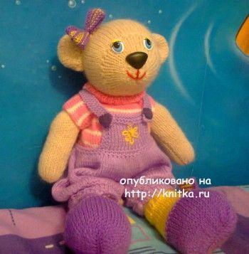 Медведица Эльза связанная спицами – работа Алены. Вязание спицами.