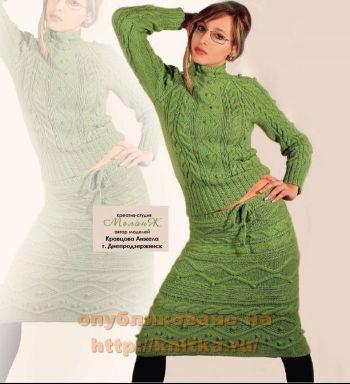 Вязаная юбка и джемпер. Вязание спицами.
