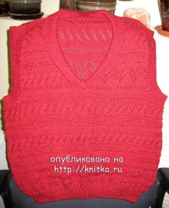 Безрукавка спицами – работа Любови Жучковой. Вязание спицами.