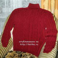 Мужской пуловер спицами – работа Любови Жучковой