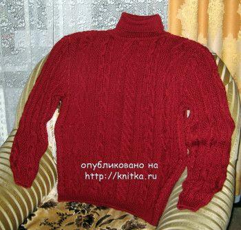 Мужской пуловер спицами – работа Любови Жучковой. Вязание спицами.