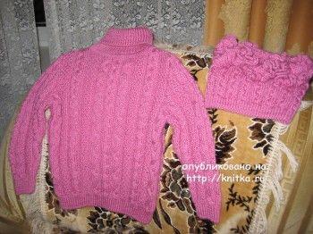Свитер и шапочка для девочки спицами – работы Любови Жучковой. Вязание спицами.