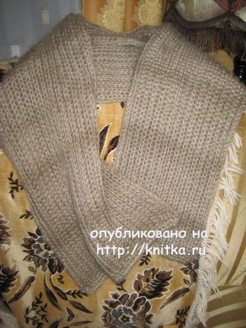 Шарф спицами – работа Любови Жучковой. Вязание спицами.