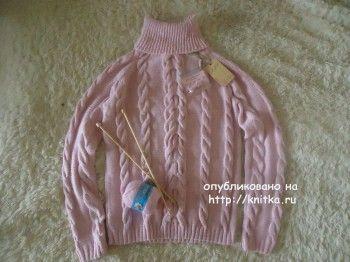 Вязаный спицами свитер из пуха норки