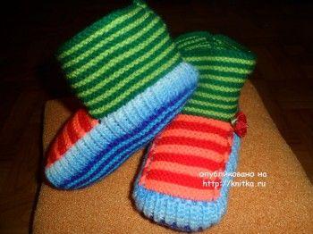 Вязаные спицами тапочки – работа Ольги. Вязание спицами.