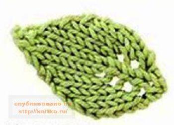 Схема вязаного листа. Вязание спицами.
