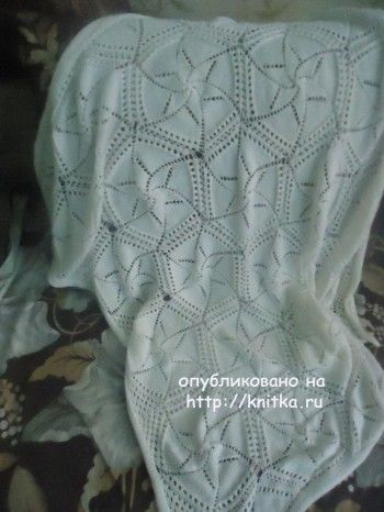 Детский плед спицами – работа Лилии. Вязание спицами.