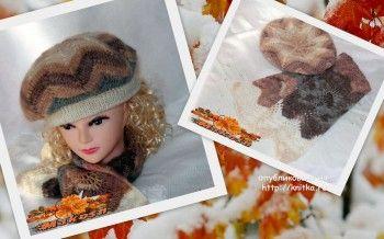 Комплект Осенний лист - берет и шарф спицами