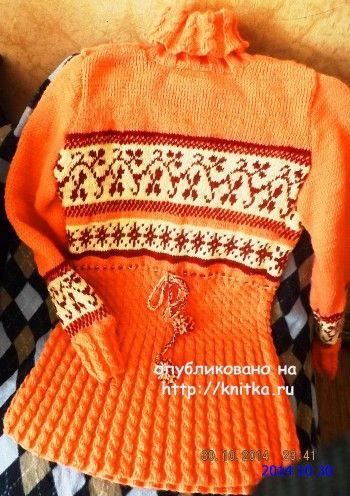 Теплая туника спицами – работа Оксаны. Вязание спицами.