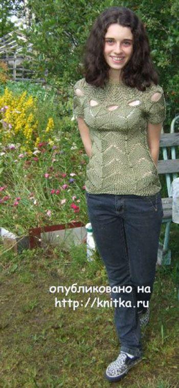 Летняя кофточка спицами от Марии Казановой