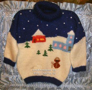 Вязаный спицами детский свитер