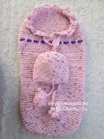 Вязаный спицами конверт для новорожденного - работа Марии Гнедько