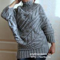 Вязаный спицами свитер  – работа Татьяны