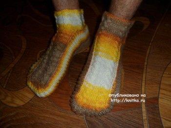Мужские носки спицами - работа Ольги