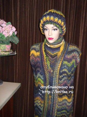 Жилет волна – работа Марии Казановой. Вязание спицами.