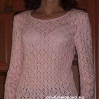 Пуловер с узором листья – работа Марины