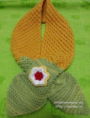Детские шарфы спицами – работы Майи Ким. Вязание спицами.