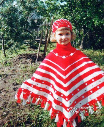 Пончо с жаккардовыми узорами – работа Марии Казановой. Вязание спицами.