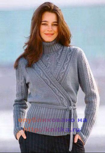 Двойка серого цвета: топ и жакет. Вязание спицами.