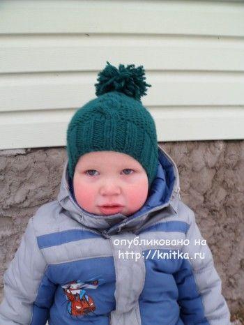 Шапочка для мальчика МК. Работа Ольги. Вязание спицами.