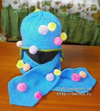 Шапка с ушками и шарф спицами от Наталии Гуторовой