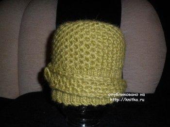 Зимняя шапочка спицами – работа Ольги. Вязание спицами.