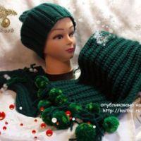 Зимний комплект спицами – работа Ирины Кангаш