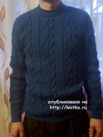 Мужской свитер спицами – работа Ирины Стильник. Вязание спицами.
