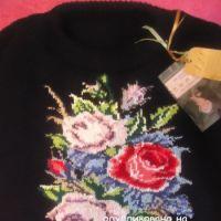 Вязаный спицами свитер - работа Лилии (интарсия)