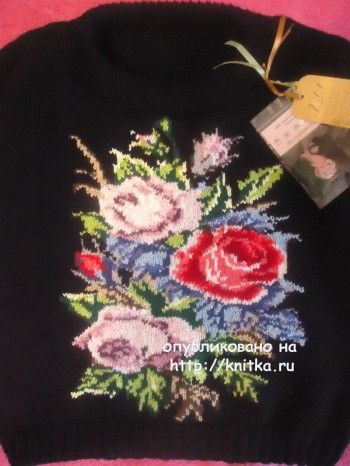 Вязаный спицами свитер – работа Лилии (интарсия). Вязание спицами.