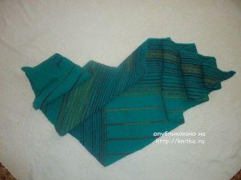 Шаль Модерн – работа Лилии. Вязание спицами.