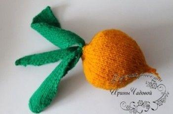 Вязаная спицами игрушка репка. Вязание спицами.