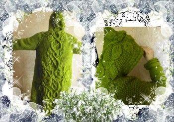 Цветущее пальто – работа Оксаны. Вязание спицами.