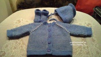 Детский комплект спицами – работа Ольги. Вязание спицами.