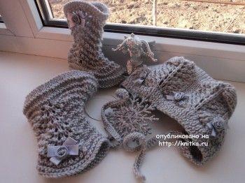 Шапочка и пинетки – работы Натальи. Вязание спицами.