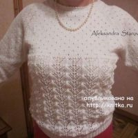 Белый ажурный джемпер – работа Александры Старовой