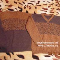 Мужской свитер с жаккардовым узором – работа Екатерины