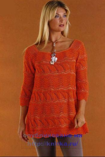 Оранжевая туника, связанная на спицах. Вязание спицами.