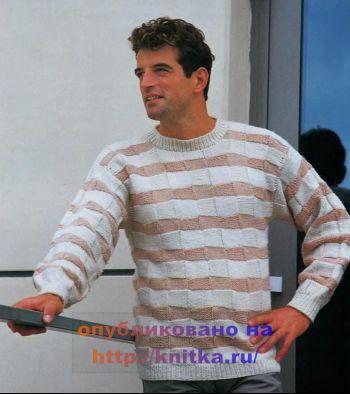 Пуловер с квадратными мотивами спицами