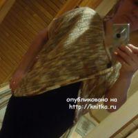 Вязаное пончо из меланжевой пряжи – работа Валерии