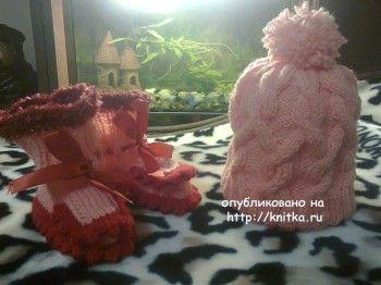 Детская шапочка спицами – работа Ирины Стильник. Вязание спицами.