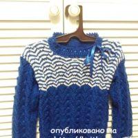 Вязаный детский пуловер – работа Оксаны Усмановой