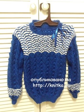 Вязаный детский пуловер – работа Оксаны Усмановой. Вязание спицами.