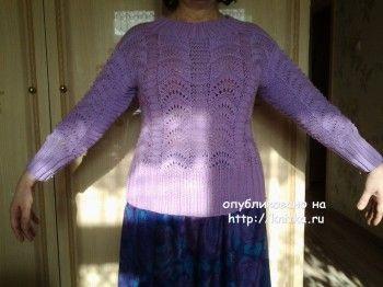Женский пуловер, связанный спицами – работа Primma. Вязание спицами.